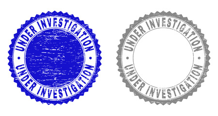 Grunge UNDER INVESTIGATION stamp seals isolated on a white background. Rosette seals with distress texture in blue and gray colors.