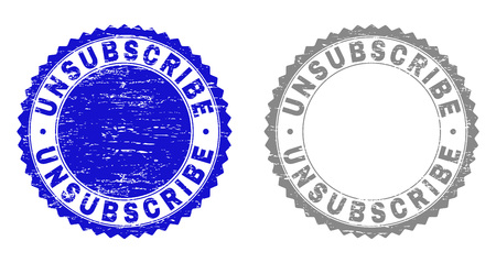 Grunge UNSUBSCRIBE watermarks isolated on a white background. Rosette seals with grunge texture in blue and grey colors. Vector rubber stamp imprint of UNSUBSCRIBE label inside round rosette. Illustration