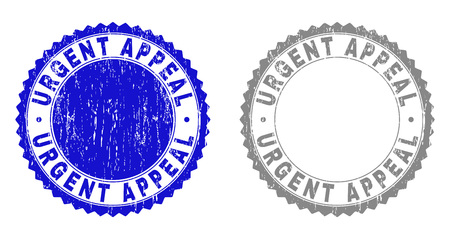 Grunge URGENT APPEAL stamp seals isolated on a white background. Rosette seals with distress texture in blue and grey colors. Vector rubber stamp imprint of URGENT APPEAL label inside round rosette.