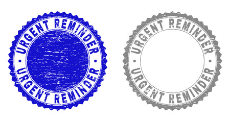Grunge URGENT REMINDER stamp seals isolated on a white background. Rosette seals with grunge texture in blue and gray colors. Vector rubber stamp imprint of URGENT REMINDER label inside round rosette.