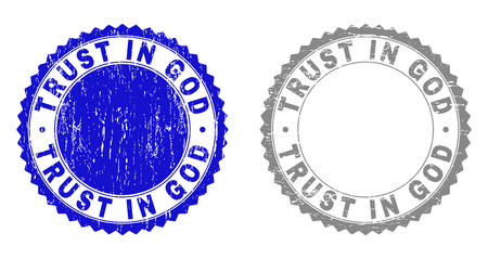 Grunge TRUST IN GOD stamp seals isolated on a white background. Rosette seals with grunge texture in blue and grey colors. Vector rubber stamp imprint of TRUST IN GOD text inside round rosette. Illustration