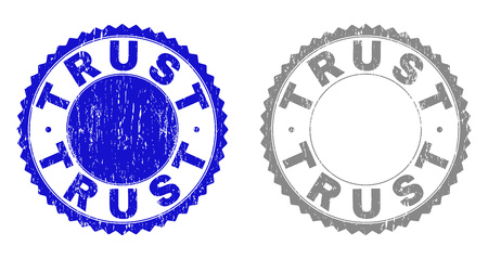 Grunge TRUST stamp seals isolated on a white background. Rosette seals with grunge texture in blue and gray colors. Vector rubber watermark of TRUST title inside round rosette.