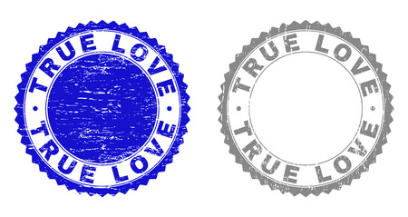 Grunge TRUE LOVE stamp seals isolated on a white background. Rosette seals with grunge texture in blue and grey colors. Vector rubber stamp imprint of TRUE LOVE title inside round rosette. Illustration