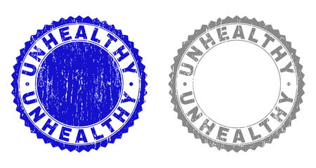 Grunge UNHEALTHY stamp seals isolated on a white background. Rosette seals with grunge texture in blue and grey colors. Vector rubber stamp imprint of UNHEALTHY tag inside round rosette.