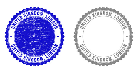Grunge UNITED KINGDOM, LONDON stamp seals isolated on a white background. Rosette seals with grunge texture in blue and gray colors. Vector rubber stamp imprint of UNITED KINGDOM, Ilustrace