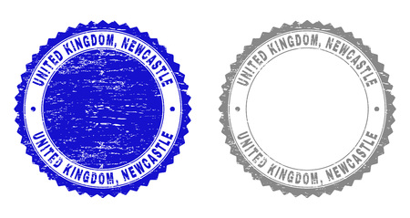 Grunge UNITED KINGDOM, NEWCASTLE stamp seals isolated on a white background. Rosette seals with grunge texture in blue and gray colors. Vector rubber stamp imprint of UNITED KINGDOM,