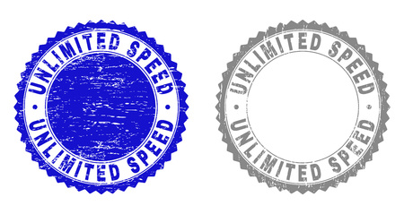 Grunge UNLIMITED SPEED stamp seals isolated on a white background. Rosette seals with grunge texture in blue and grey colors.