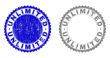 Grunge UNLIMITED stamp seals isolated on a white background. Rosette seals with grunge texture in blue and gray colors. Vector rubber stamp imitation of UNLIMITED label inside round rosette.