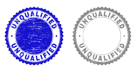 Grunge UNQUALIFIED stamp seals isolated on a white background. Rosette seals with distress texture in blue and grey colors. Vector rubber overlay of UNQUALIFIED title inside round rosette.