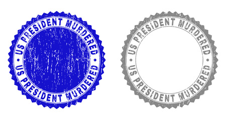 Grunge US PRESIDENT MURDERED stamp seals isolated on a white background. Rosette seals with grunge texture in blue and gray colors. Stock Illustratie