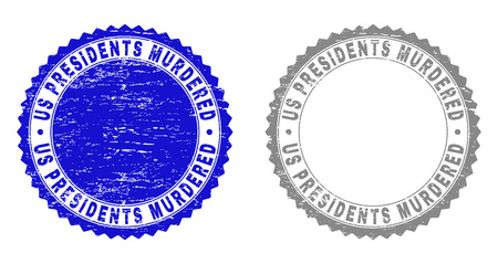 Grunge US PRESIDENTS MURDERED stamp seals isolated on a white background. Rosette seals with grunge texture in blue and gray colors. Stock Illustratie