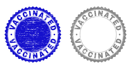 Grunge VACCINATED stamp seals isolated on a white background. Rosette seals with grunge texture in blue and gray colors. Vector rubber watermark of VACCINATED text inside round rosette.