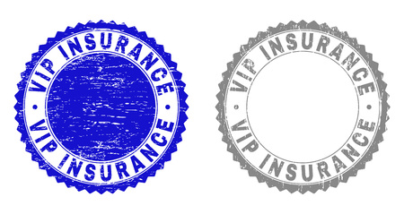 Grunge VIP INSURANCE stamp seals isolated on a white background. Rosette seals with grunge texture in blue and grey colors. Vector rubber overlay of VIP INSURANCE tag inside round rosette.