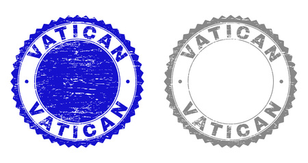 Grunge VATICAN stamp seals isolated on a white background. Rosette seals with grunge texture in blue and gray colors. Vector rubber stamp imprint of VATICAN label inside round rosette. Ilustração