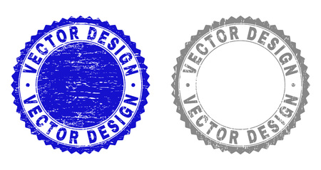 Grunge VECTOR DESIGN stamp seals isolated on a white background. Rosette seals with grunge texture in blue and grey colors. Vector rubber overlay of VECTOR DESIGN text inside round rosette. Ilustração