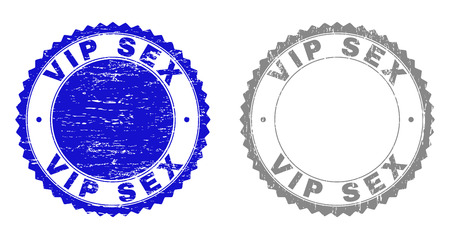 Grunge VIP SEX stamp seals isolated on a white background. Rosette seals with grunge texture in blue and grey colors. Vector rubber overlay of VIP SEX text inside round rosette.