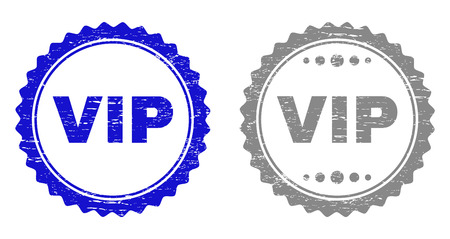 Grunge VIP stamp seals isolated on a white background. Rosette seals with distress texture in blue and gray colors. Vector rubber stamp imitation of VIP title inside round rosette.