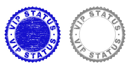 Grunge VIP STATUS stamp seals isolated on a white background. Rosette seals with grunge texture in blue and gray colors. Vector rubber overlay of VIP STATUS text inside round rosette.
