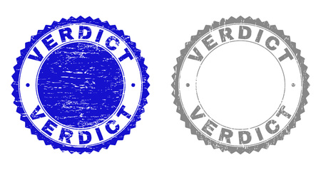 Grunge VERDICT stamp seals isolated on a white background. Rosette seals with distress texture in blue and grey colors. Vector rubber stamp imitation of VERDICT label inside round rosette. Иллюстрация