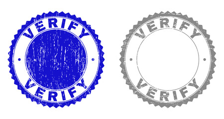 Grunge VERIFY stamp seals isolated on a white background. Rosette seals with grunge texture in blue and grey colors. Vector rubber watermark of VERIFY label inside round rosette.