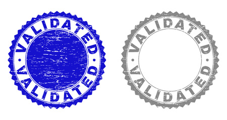 Grunge VALIDATED stamp seals isolated on a white background. Rosette seals with grunge texture in blue and gray colors. Vector rubber overlay of VALIDATED text inside round rosette. Иллюстрация