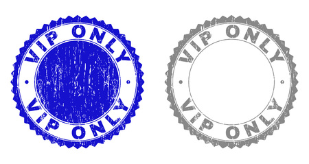 Grunge VIP ONLY stamp seals isolated on a white background. Rosette seals with grunge texture in blue and grey colors. Vector rubber watermark of VIP ONLY tag inside round rosette.