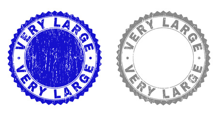 Grunge VERY LARGE stamp seals isolated on a white background. Rosette seals with grunge texture in blue and gray colors. Vector rubber stamp imitation of VERY LARGE tag inside round rosette.