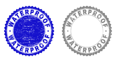 Grunge WATERPROOF stamp seals isolated on a white background. Rosette seals with grunge texture in blue and gray colors. Vector rubber stamp imprint of WATERPROOF caption inside round rosette.