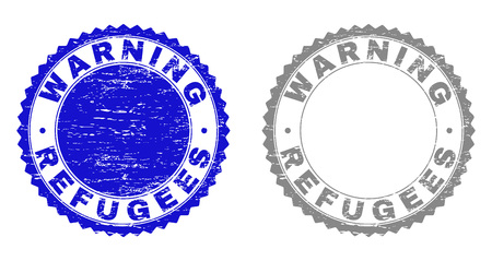 Grunge WARNING REFUGEES stamp seals isolated on a white background. Rosette seals with distress texture in blue and grey colors. Illustration