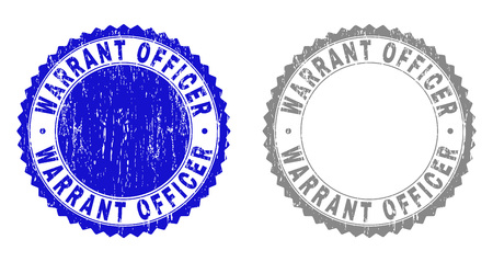 Grunge WARRANT OFFICER stamps isolated on a white background. Rosette seals with distress texture in blue and gray colors. Vector rubber stamp imprint of WARRANT OFFICER tag inside round rosette.