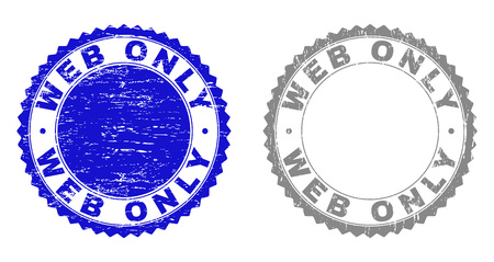 Grunge WEB ONLY stamp seals isolated on a white background. Rosette seals with grunge texture in blue and gray colors. Vector rubber stamp imitation of WEB ONLY text inside round rosette.