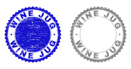 Grunge WINE JUG stamp seals isolated on a white background. Rosette seals with grunge texture in blue and gray colors. Vector rubber stamp imitation of WINE JUG text inside round rosette.
