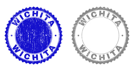Grunge WICHITA watermarks isolated on a white background. Rosette seals with grunge texture in blue and gray colors. Vector rubber stamp imprint of WICHITA caption inside round rosette.