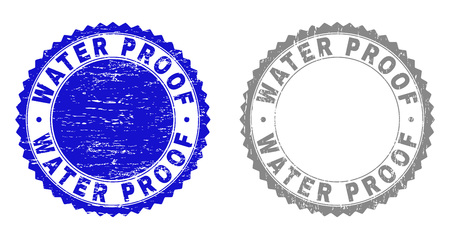 Grunge WATER PROOF stamp seals isolated on a white background. Rosette seals with distress texture in blue and gray colors. Vector rubber overlay of WATER PROOF text inside round rosette.