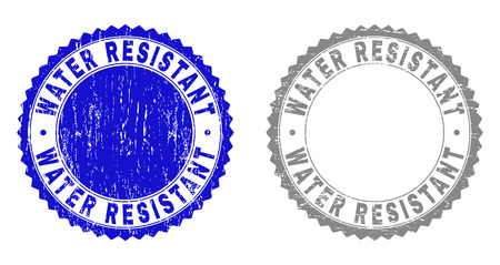 Grunge WATER RESISTANT stamps isolated on a white background. Rosette seals with grunge texture in blue and gray colors. Vector rubber stamp imprint of WATER RESISTANT tag inside round rosette. Ilustração