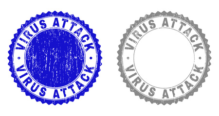 Grunge VIRUS ATTACK watermarks isolated on a white background. Rosette seals with grunge texture in blue and gray colors. Vector rubber stamp imprint of VIRUS ATTACK tag inside round rosette.