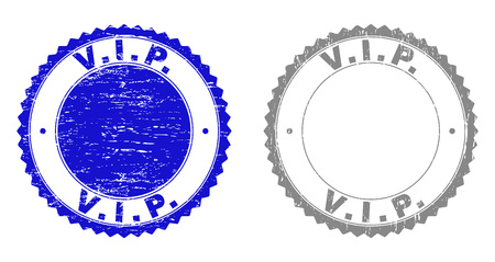 Grunge V.I.P. stamp seals isolated on a white background. Rosette seals with grunge texture in blue and grey colors. Vector rubber stamp imitation of V.I.P. tag inside round rosette.