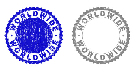 Grunge WORLDWIDE stamp seals isolated on a white background. Rosette seals with grunge texture in blue and grey colors. Vector rubber overlay of WORLDWIDE text inside round rosette. Vektorové ilustrace