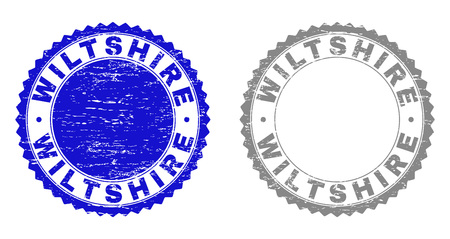 Grunge WILTSHIRE stamp seals isolated on a white background. Rosette seals with grunge texture in blue and gray colors. Vector rubber stamp imprint of WILTSHIRE tag inside round rosette. Illustration