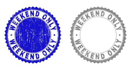 Grunge WEEKEND ONLY stamp seals isolated on a white background. Rosette seals with grunge texture in blue and gray colors. Vector rubber stamp imprint of WEEKEND ONLY tag inside round rosette.