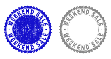 Grunge WEEKEND SALE stamp seals isolated on a white background. Rosette seals with grunge texture in blue and grey colors. Vector rubber stamp imitation of WEEKEND SALE tag inside round rosette.