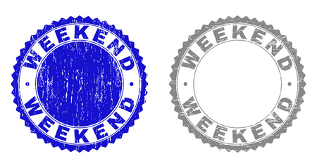 Grunge WEEKEND stamp seals isolated on a white background. Rosette seals with grunge texture in blue and gray colors. Vector rubber watermark of WEEKEND tag inside round rosette.