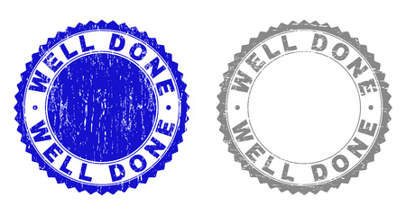 Grunge WELL DONE stamp seals isolated on a white background. Rosette seals with grunge texture in blue and gray colors. Vector rubber stamp imitation of WELL DONE text inside round rosette.