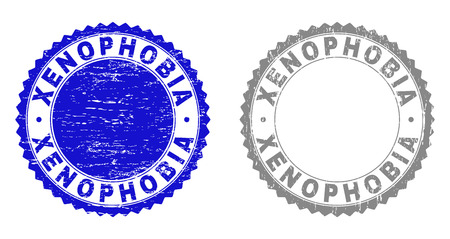 Grunge XENOPHOBIA stamp seals isolated on a white background. Rosette seals with grunge texture in blue and gray colors. Vector rubber stamp imprint of XENOPHOBIA title inside round rosette.