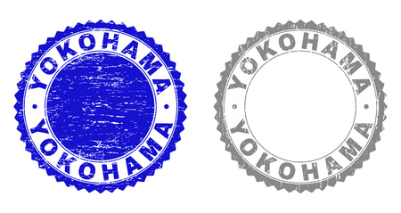 Grunge YOKOHAMA stamp seals isolated on a white background. Rosette seals with distress texture in blue and grey colors. Vector rubber stamp imprint of YOKOHAMA label inside round rosette. Illustration