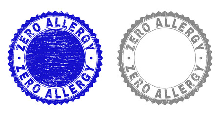 Grunge ZERO ALLERGY stamp seals isolated on a white background. Rosette seals with grunge texture in blue and gray colors. Vector rubber stamp imitation of ZERO ALLERGY label inside round rosette.