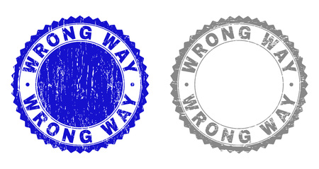 Grunge WRONG WAY stamp seals isolated on a white background. Rosette seals with grunge texture in blue and gray colors. Vector rubber stamp imitation of WRONG WAY caption inside round rosette.