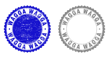Grunge WAGGA stamps isolated on a white background. Rosette seals with grunge texture in blue and grey colors. Vector rubber watermark of WAGGA text inside round rosette.