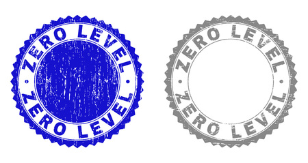 Grunge ZERO LEVEL stamp seals isolated on a white background. Rosette seals with grunge texture in blue and grey colors. Vector rubber stamp imprint of ZERO LEVEL title inside round rosette.
