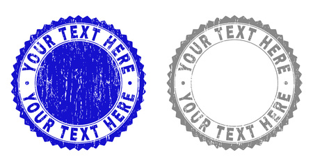Grunge YOUR TEXT HERE stamps isolated on a white background. Rosette seals with grunge texture in blue and gray colors. Vector rubber stamp imitation of YOUR TEXT HERE tag inside round rosette.